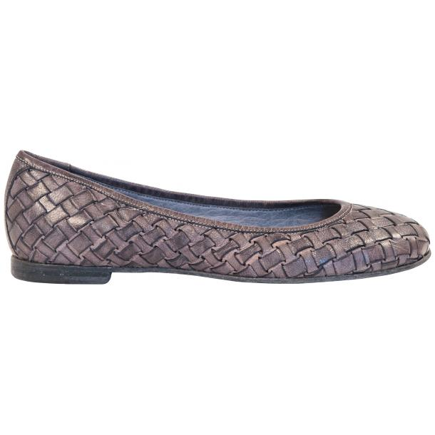 Adele Dip Dyed Grey Leather Woven Ballerina Flats thumb #4