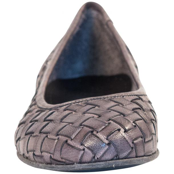 Adele Dip Dyed Grey Leather Woven Ballerina Flats thumb #3