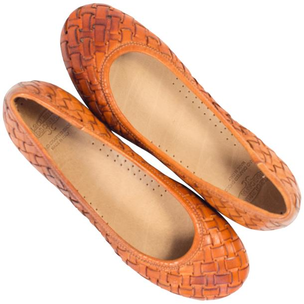 Adele Dip Dyed Brick Brown Leather Woven Ballerina Flats thumb #2