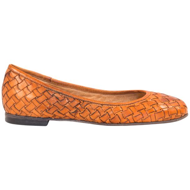Adele Dip Dyed Brick Brown Leather Woven Ballerina Flats thumb #4