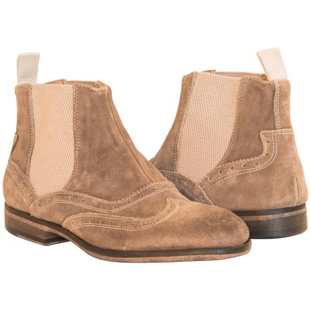 Leila Beige Suede Wing Tip Dip Dyed Chelsea Boot full-size #1