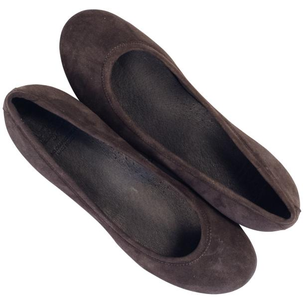 Tina Dark Brown Dip Dyed Suede Ballerina Flats full-size #2
