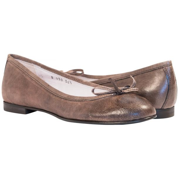 Helena Taupe Nappa Leather Dip Dyed Bow Ballerina Flats full-size #1