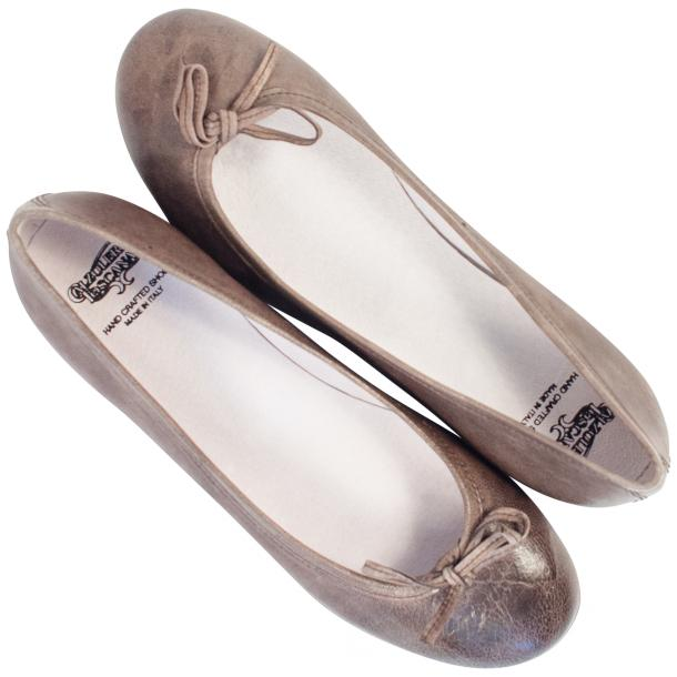 Helena Taupe Nappa Leather Dip Dyed Bow Ballerina Flats thumb #2