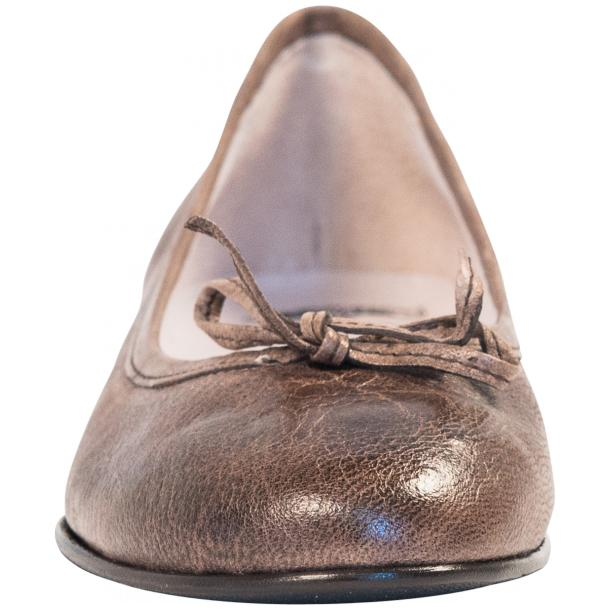 Helena Taupe Nappa Leather Dip Dyed Bow Ballerina Flats thumb #3