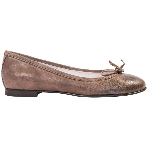 Helena Taupe Nappa Leather Dip Dyed Bow Ballerina Flats thumb #4