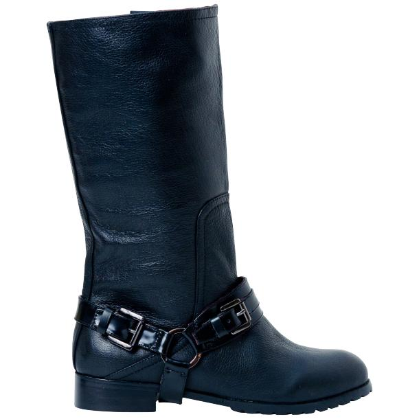 Kally Black Buffalo Leather Mid-Calf Boots with Detachable Buckles thumb #4