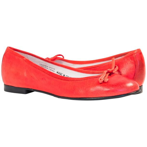 Helena Red Nappa Leather Dip Dyed Bow Ballerina Flats full-size #1