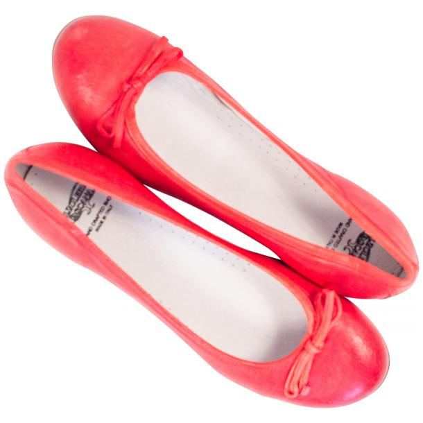 Helena Red Nappa Leather Dip Dyed Bow Ballerina Flats thumb #2