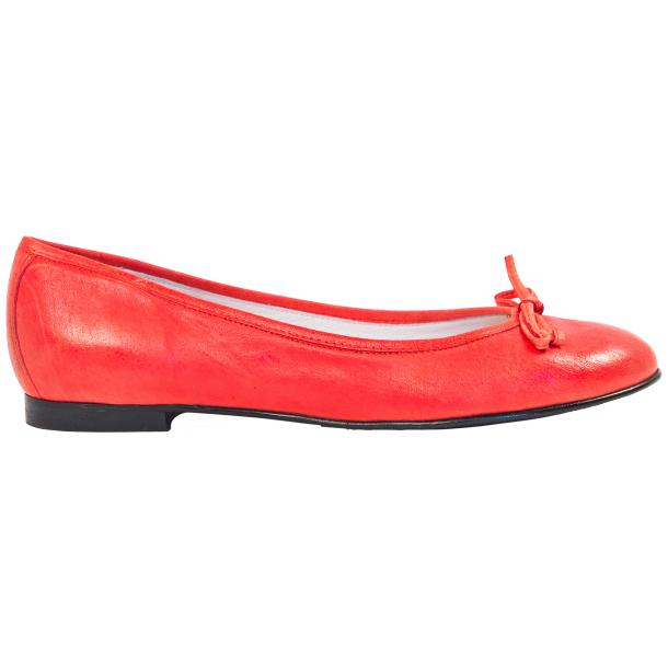 Helena Red Nappa Leather Dip Dyed Bow Ballerina Flats thumb #4