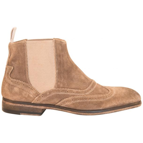 Leila Beige Suede Wing Tip Dip Dyed Chelsea Boot thumb #4