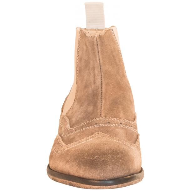 Leila Beige Suede Wing Tip Dip Dyed Chelsea Boot thumb #3
