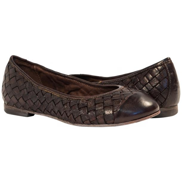 Maya Dip Dyed Espresso Brown Woven Leather Ballerina Flats full-size #1