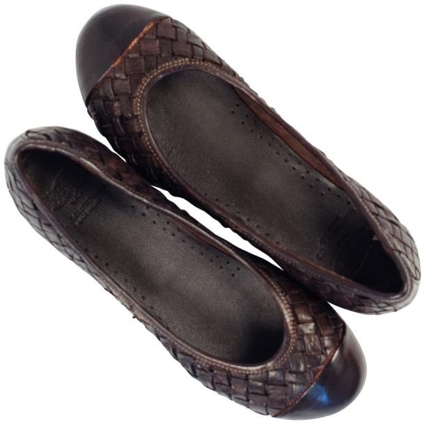 Maya Dip Dyed Espresso Brown Woven Leather Ballerina Flats thumb #2