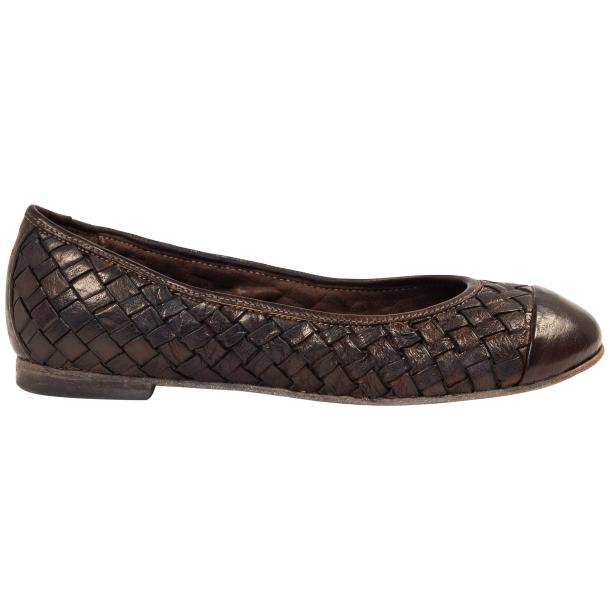 Maya Dip Dyed Espresso Brown Woven Leather Ballerina Flats thumb #4