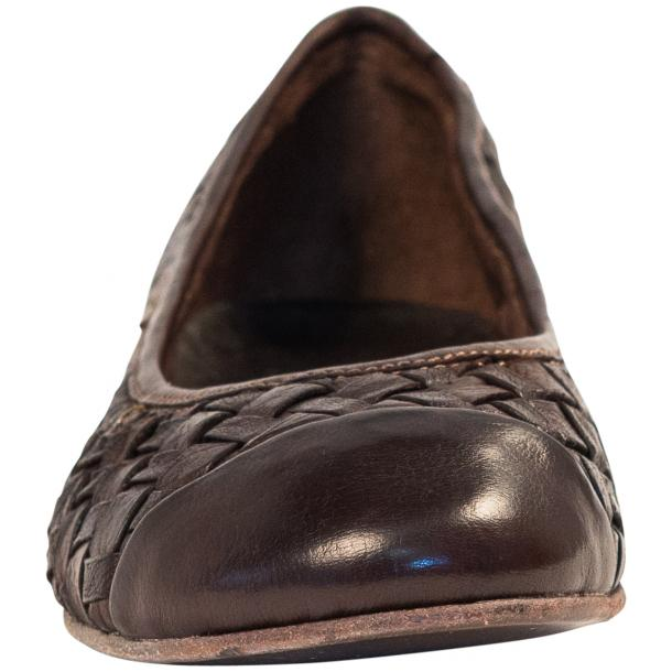 Maya Dip Dyed Espresso Brown Woven Leather Ballerina Flats thumb #3