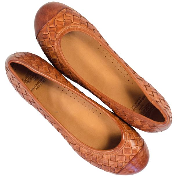 Kate Dip Dyed Coker Brown Woven Leather Ballerina Flats thumb #2