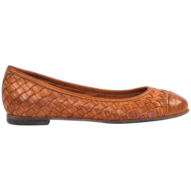 Kate Dip Dyed Coker Brown Woven Leather Ballerina Flats thumb #4
