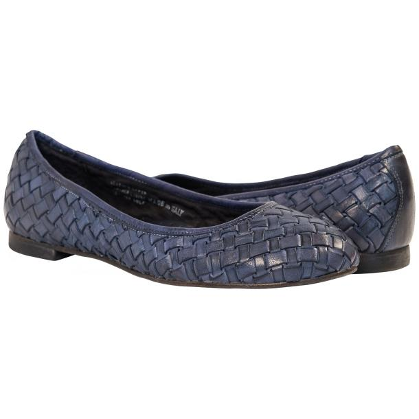 Adele Dip Dyed Denim Blue Leather Woven Ballerina Flats full-size #1