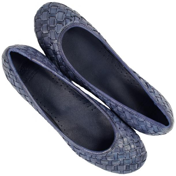 Adele Dip Dyed Denim Blue Leather Woven Ballerina Flats thumb #2