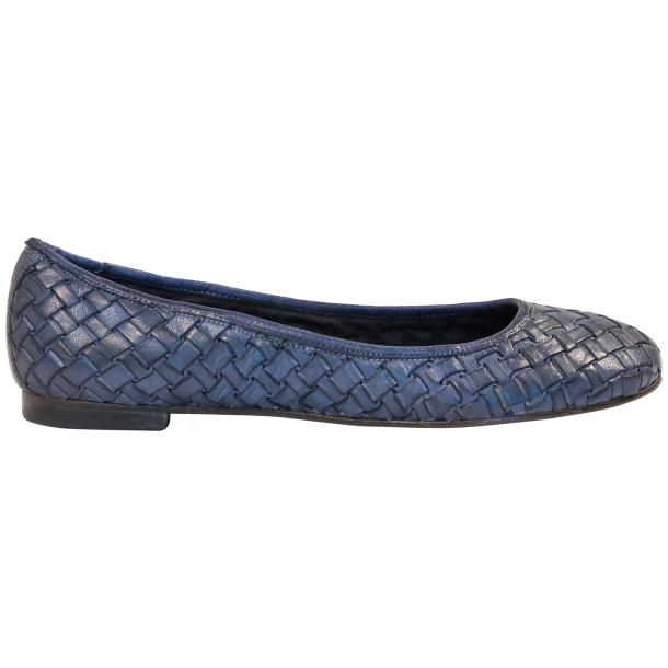 Adele Dip Dyed Denim Blue Leather Woven Ballerina Flats thumb #4