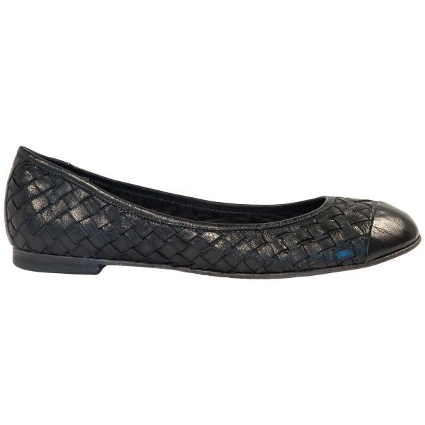 Kate Dip Dyed Black Woven Leather Ballerina Flats thumb #4