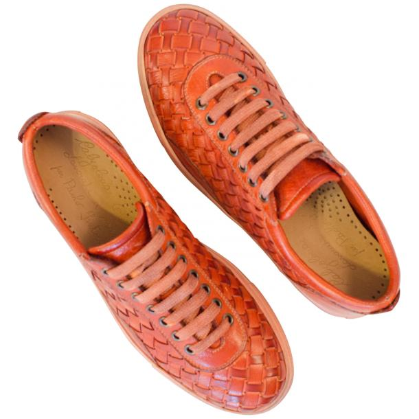 Val Dip Dyed Orange Woven Low Tops thumb #2