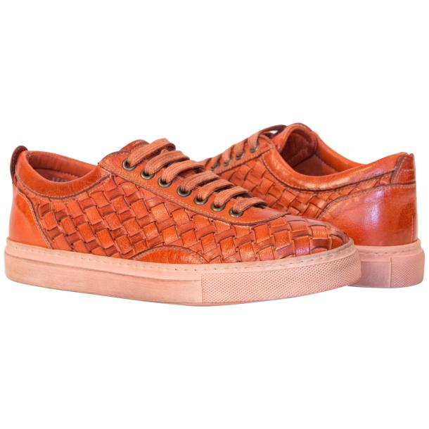 Val Dip Dyed Orange Woven Low Tops full-size #1