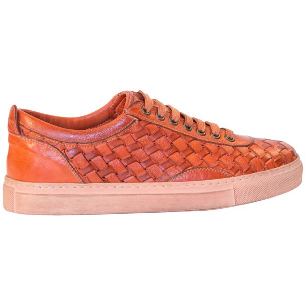 Val Dip Dyed Orange Woven Low Tops thumb #4