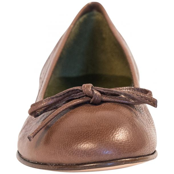 Diamond Brown Dip Dyed Nappa Leather Bow Ballerina Flat thumb #3