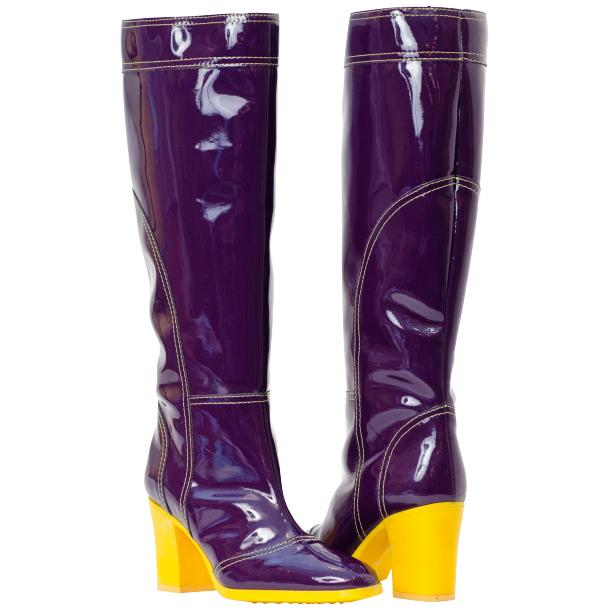 Rain Purple Shiny Tall Boots full-size #1