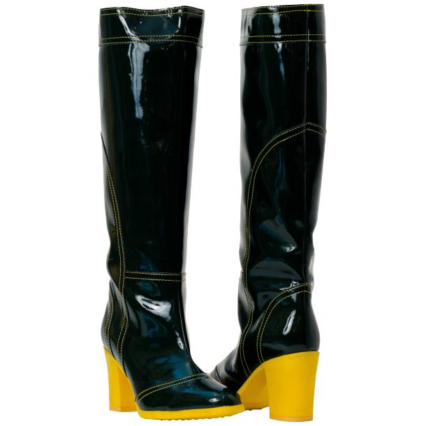 Rain Black Shiny Tall Boots full-size #1