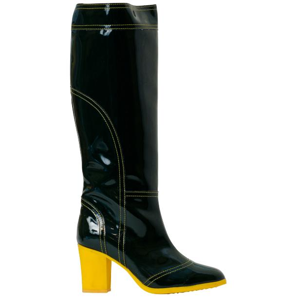 Rain Black Shiny Tall Boots full-size #3