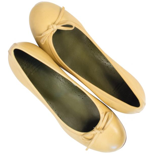 Abbie Yellow Nappa Leather Bow Ballerina Flat  thumb #2