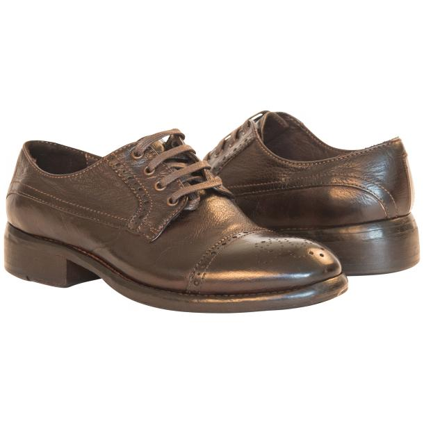 Diana Dip Dyed Brown Leather Cap toe Lace Up Shoes thumb #1