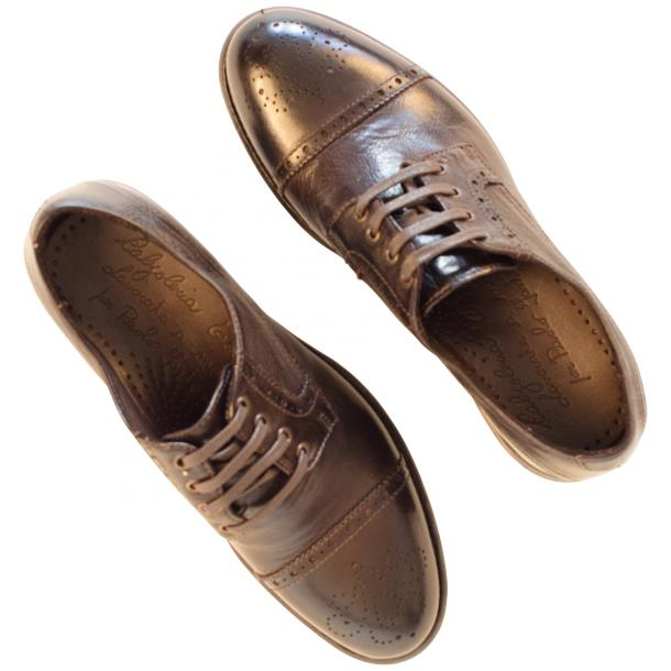 Diana Dip Dyed Brown Leather Cap toe Lace Up Shoes thumb #2