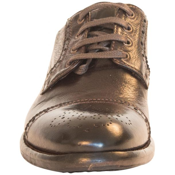 Diana Dip Dyed Brown Leather Cap toe Lace Up Shoes thumb #3