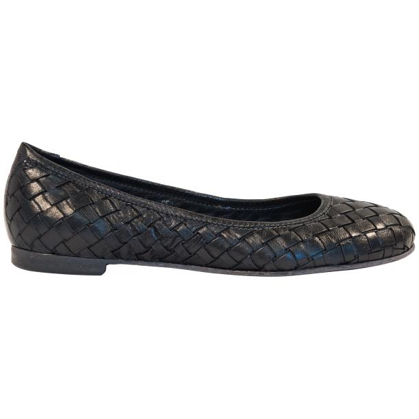 Skye Dip Dyed Black Smoke Leather Woven Ballerina Flats thumb #4