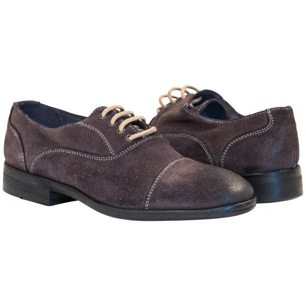 Natalie Dip Dyed Graphite Dark Grey Suede Oxford Shoes full-size #1