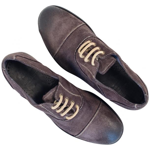 Natalie Dip Dyed Graphite Dark Grey Suede Oxford Shoes thumb #2