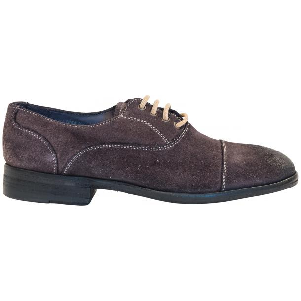 Natalie Dip Dyed Graphite Dark Grey Suede Oxford Shoes thumb #4