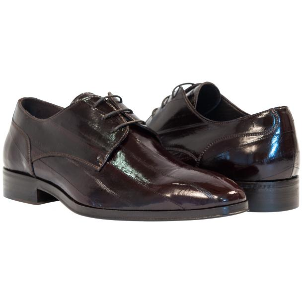 Marcel Dark Brown Eel Skin Lace-Up Dress Shoes full-size #1