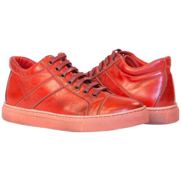 Amelie Dip Dyed Flame Red Low Top Sneakers  full-size #1