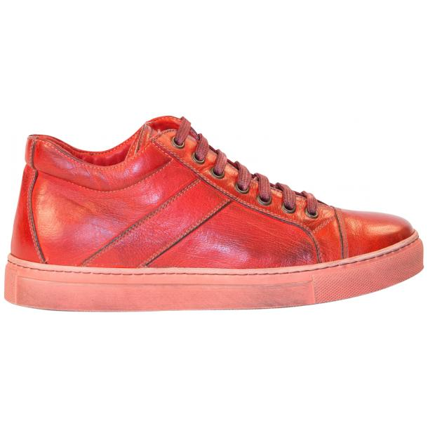 Amelie Dip Dyed Flame Red Low Top Sneakers  full-size #4