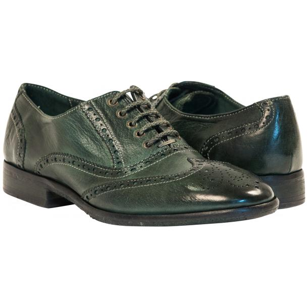 Ashley Dip Dyed Green Leather Oxford Lace Up Wing Tips full-size #1