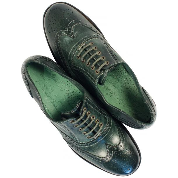 Ashley Dip Dyed Green Leather Oxford Lace Up Wing Tips thumb #2