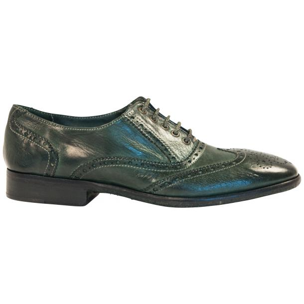 Ashley Dip Dyed Green Leather Oxford Lace Up Wing Tips thumb #4