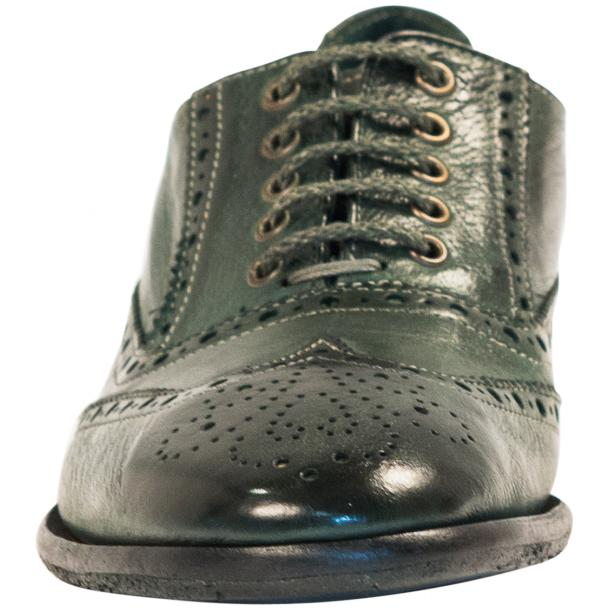 Ashley Dip Dyed Green Leather Oxford Lace Up Wing Tips thumb #3