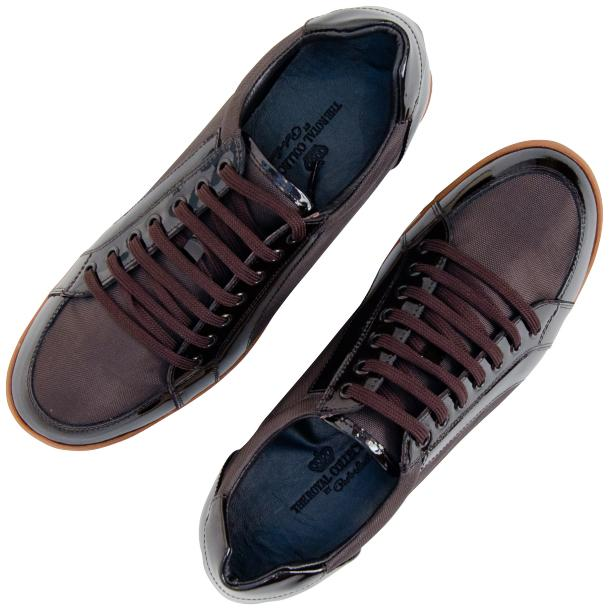 Paola Brown Patent Leather Low Top Sneakers  thumb #2