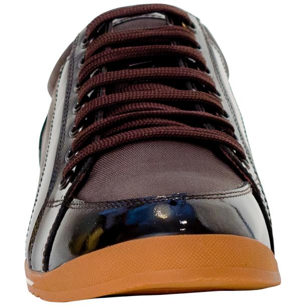Paola Brown Patent Leather Low Top Sneakers  thumb #3